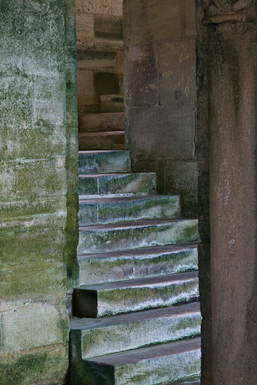 Crypt stairs in Eglise Notre Dame, Mont-devant-Sassy (Meuse)  (Photo by Dennis Aubrey)