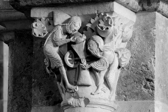 """The Mystic Mill"" capital in Basilique Sainte Madeleine, Vézelay (Yonne) Photo by Dennis Aubrey"