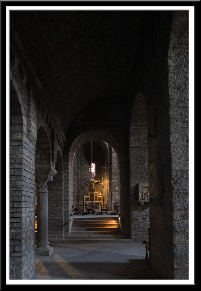 Side aisle of Monastir de Santa Maria, Ripoll (Girona)  Photo by PJ McKey
