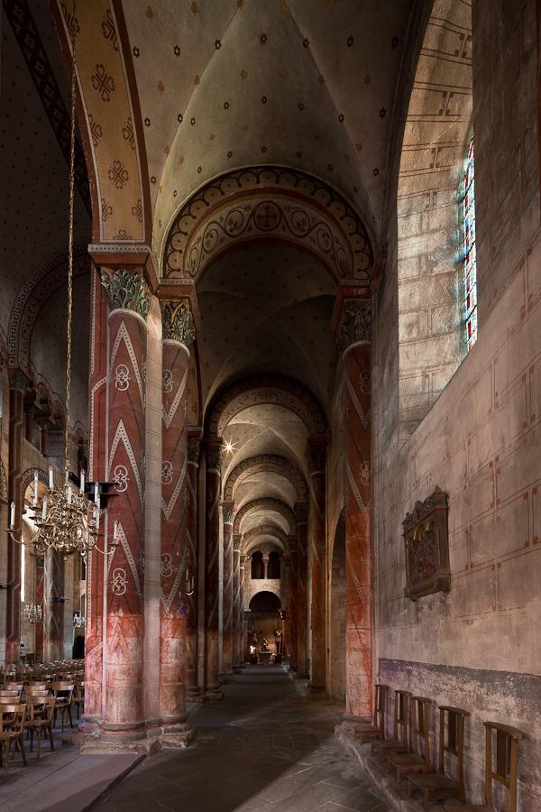 South side aisle, Basilique Saint Austremoine, Issoire (Puy-de-Dôme)  Photo by Dennis Aubrey