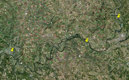 The location of the three Saint Pierre Abbeys (map from Google Earth)