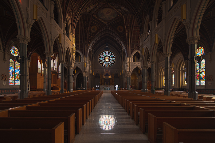 Nave with layer mask of windows, Saint Peter and Saint Paul Cathedral, Providence (Rhode Island)  Photo by Dennis Aubrey