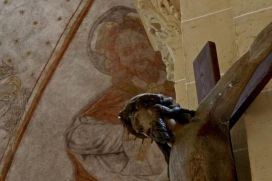 Fresco with cruciifix Basilique Notre Dame, Paray-le-Monial (Saône-et-Loire)  Photo by PJ McKey