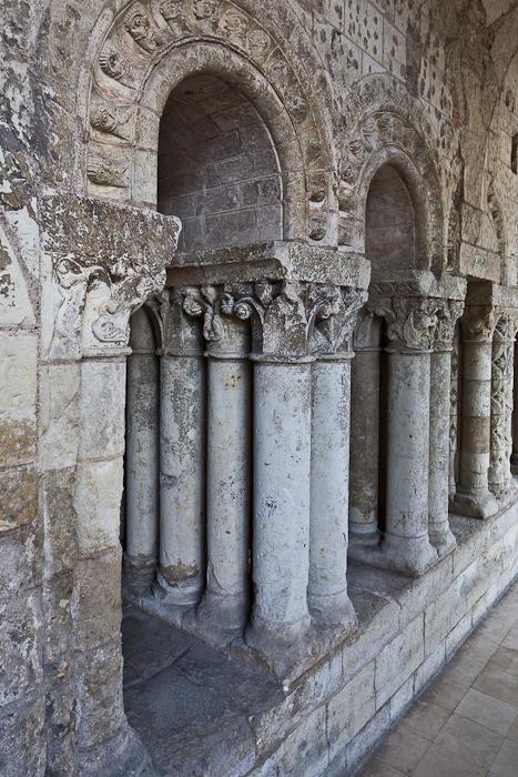 Cloister columns, Abbaye Saint Aubin, Angers (Maine-et-Loire)  Photo by PJ McKey