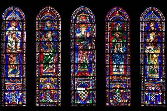 """The """"Evangelist"""" lancets, Cathédrale Notre Dame de Chartres, Chartres (Eure-et-Loire)  Photo by Dennis Aubrey"""