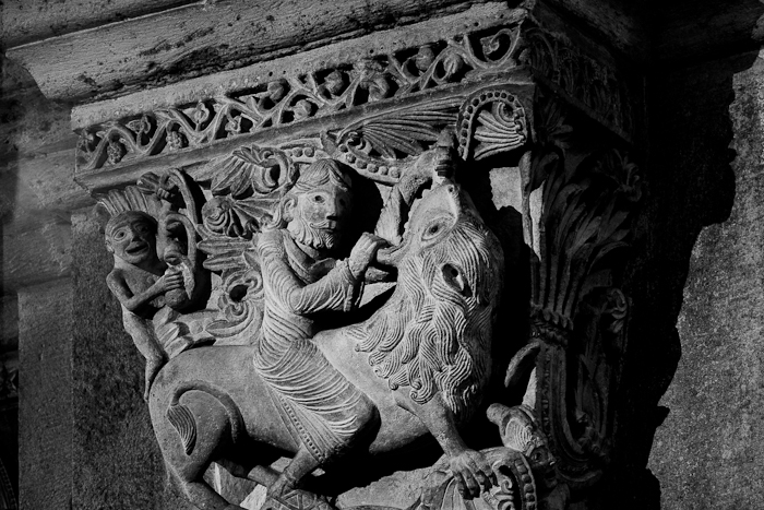 Capital - Sampson attacking the lion, Cathédrale Saint Lazare, Autun (Côte-d'Or)  Photo by Dennis Aubrey