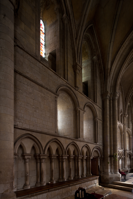 13th century chancel wall, Église Saint-Samson de Ouistreham, Ouistreham (Calvados)  Photo by Dennis Aubrey