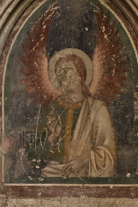 "Defaced frescoe ""Idole"", Cathédrale Saint-Nazaire, Béziers (Hérault)  Photo by Dennis Aubrey"