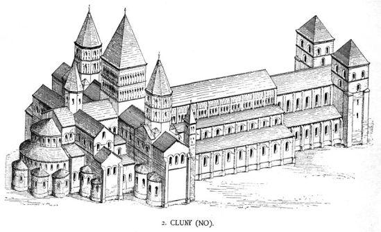 Drawing of the Abbaye de Cluny, Georg Dehio/Gustav von Bezold: Kirchliche Baukunst des Abendlandes. Stuttgart: Verlag der Cotta'schen Buchhandlung 1887-1901, Plate No. 212
