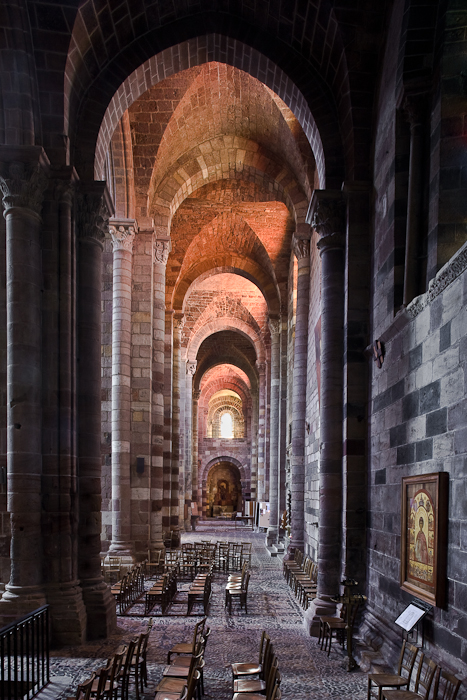 South side aisle, Basilique Saint-Julien de Brioude, Brioude (Haute-Loire)  Photo by PJ McKey