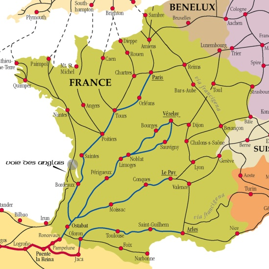 Map of Compostella routes in France