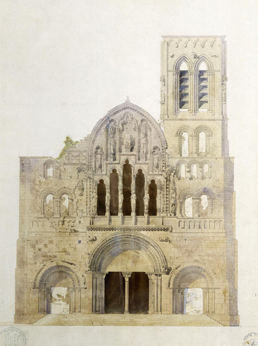 Facade of Église Sainte Madeleine, Vézelay before restoration, Eugène Viollet-le-Duc © Photo RMN-Grand Palais - G. Blot
