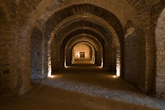 Crypt, Abbaye Saint Martin-du-Canigou, Casteil (Pyrénées-Orientales)  Photo by Dennis Aubrey