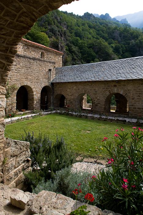 Cloister, Abbaye Saint Martin-du-Canigou, Casteil (Pyrénées-Orientales)  Photo by Dennis Aubrey