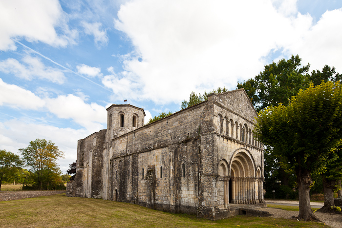 North facade and clocher, Église Saint Eutrope, Biron (Charente-Maritime)  Photo by Dennis Aubrey