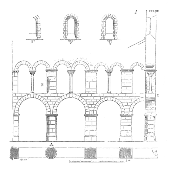 Elevation of arcade at Saint Etienne-de-Vignory, Viollet-le-Duc (Image in the Public Domain)