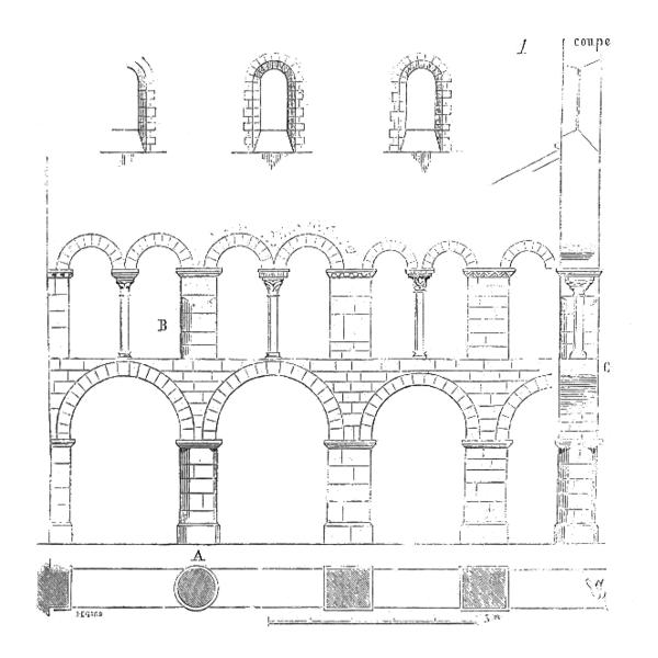 Elevation of arcade at Saint Etienne-de-Vignory, Viollet-le-Duc (Image in the Public Domain)