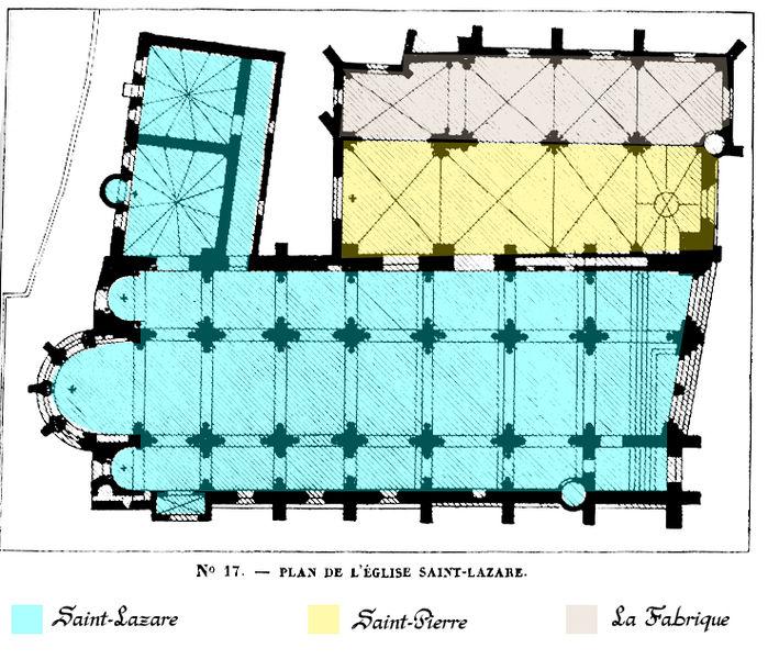 """Plan de l'église Saint-Lazare d'Avallon, """"Description des villes et campagnes du département de l'Yonne"""" (1870) Victor Petit"""