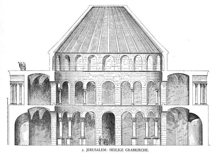 Elevation, Church of the Holy Sepulchre (Image in the public domain - Georg Dehio/Gustav von Bezold: Kirchliche Baukunst des Abendlandes. Stuttgart: Verlag der Cotta'schen Buchhandlung 1887-1901)