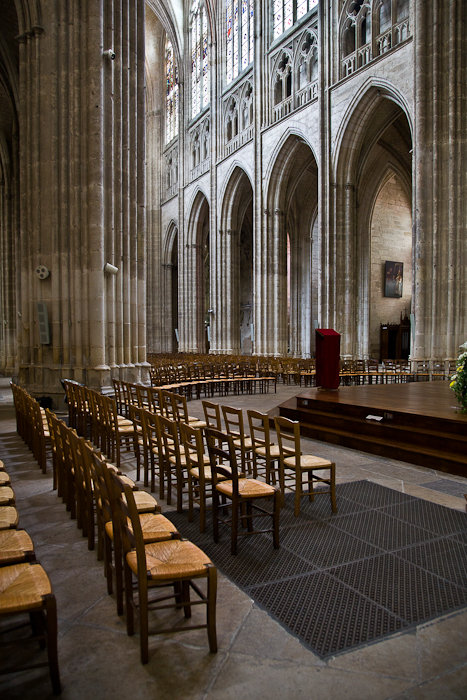 Nave from the choir,  Cathédrale Saint Etienne, Auxerre (Yonne) Photo by PJ McKey