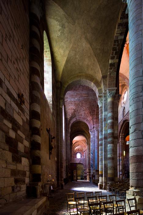 South side aisle, Basilique Saint Julien, Brioude (Haute-Loire) Photo by Dennis Aubrey
