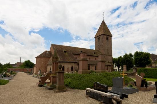View of chevet from north, Eglise Saint Ulrich, Altenstadt (Bas-Rhin)  Photo by Dennis Aubrey