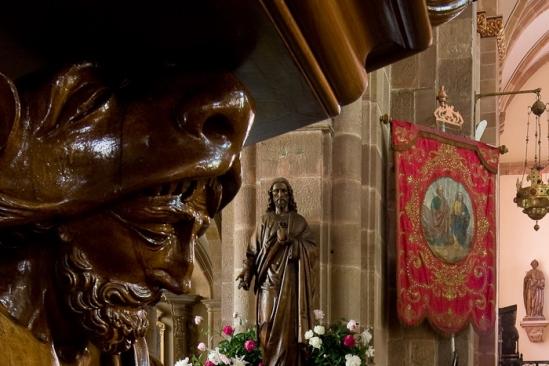 Pulpit detail, Église Saint Pierre et Saint Paul, Andlau (Bas-Rhin)  Photo by Dennis Aubrey