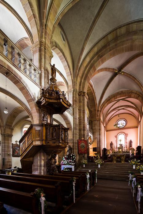 Nave and tribunes, Église Saint Pierre et Saint Paul, Andlau (Bas-Rhin)  Photo by Dennis Aubrey