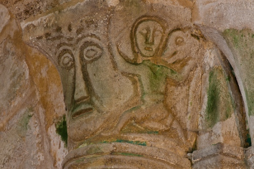 Chancel capital with mask, Notre Dame d'Agonges, Agonges (Allier) Photo by Dennis Aubrey
