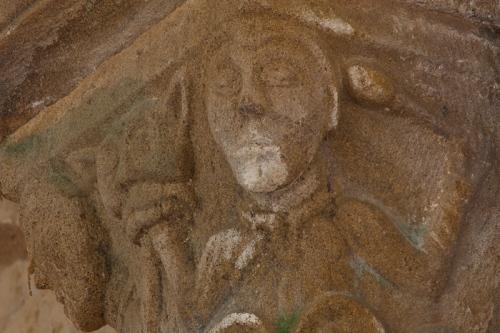 Chancel capital with faces, Notre Dame d'Agonges, Agonges (Allier) Photo by Dennis Aubrey