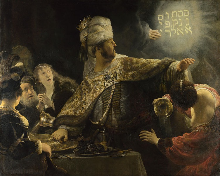 Belshazzar's Feast, Rembrandt c. 1635, Image in the Public Domain