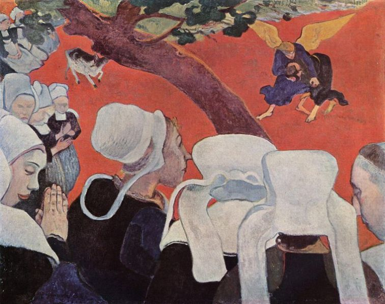 La Vision après le Sermon (La Lutte de Jacob avec l'Ange) Paul Gauguin (Image in the Public Domain)