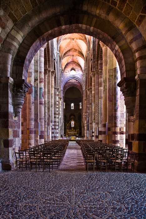 Nave from narthex, Basilique Saint Julien, Brioude (Haute-Loire) Photo by PJ McKey