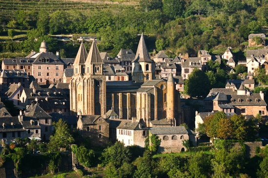 View of village of Conques (Aveyron)  Photo by Dennis Aubrey