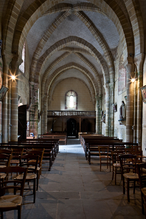 Nave looking west, Notre Dame d'Agonges, Agonges (Allier) Photo by PJ McKey