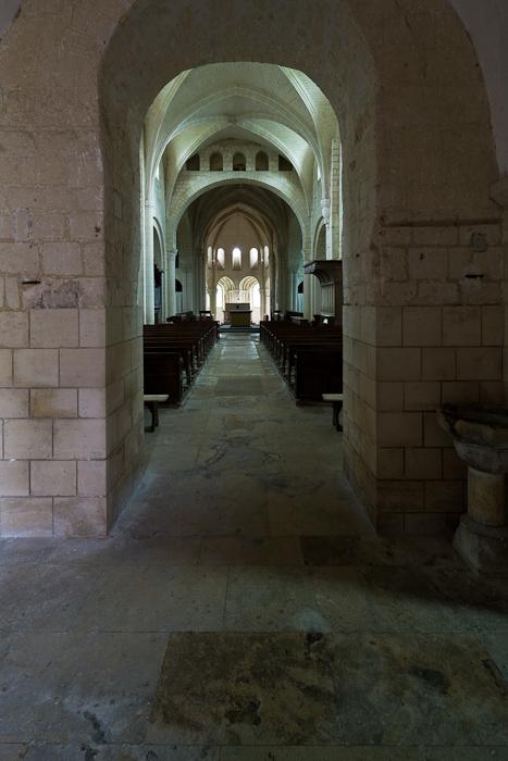 Nave through narthex arch, Abbaye Notre Dame de Morienval, Morienval (Oise)  Photo by Dennis Aubrey