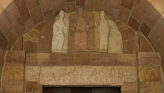 Tympanum and lintel of west portal, Église Saint Pierre et Saint Paul, Andlau (Bas-Rhin) Photo by Dennis Aubrey