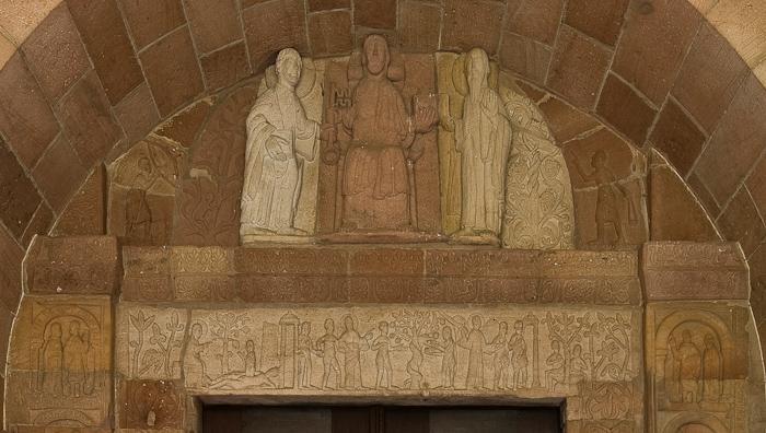 Tympanum and lintel of west portal, Église Saint Pierre et Saint Paul, Andlau (Bas-Rhin) Photo by Dennis Aubrey
