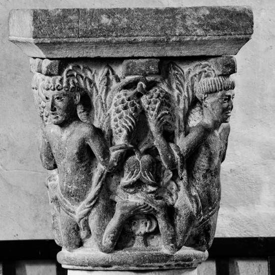 """Atalantes"" capital, Abbaye Saint-Pierre et Saint-Caprais, Mozac (Puy-de-Dôme) Photo by Dennis Aubrey"