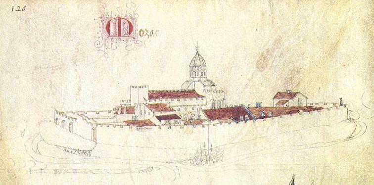 Abbaye de Mozac in the 15th Century, Guillaume Revel, L'armorial d'Auvergne, Bourbonois et Forestz de Guillaume Revel (Image in the Public Domain)