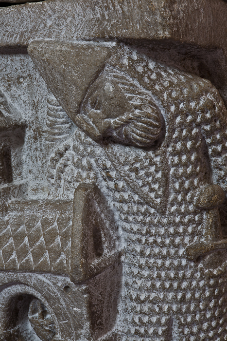 Resurrection capital detail - guard at the Tomb of Christ,Abbaye Saint-Pierre et Saint-Caprais, Mozac (Puy-de-Dôme) Photo by PJ McKey