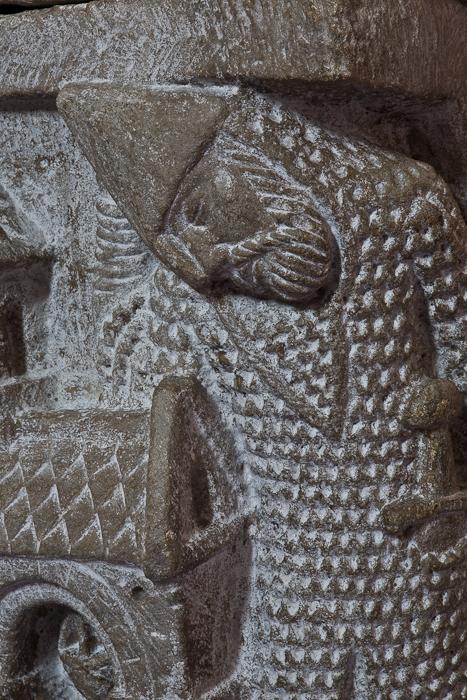 Resurrection capital detail - guard at the Tomb of Christ,Abbaye Saint-Pierre et Saint-Caprais, Mozac (Puy-de-Dôme) Photo by PJ McKey