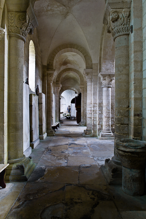 Side aisle, Abbaye Notre Dame de Morienval, Morienval (Oise) Photo by PJ McKey