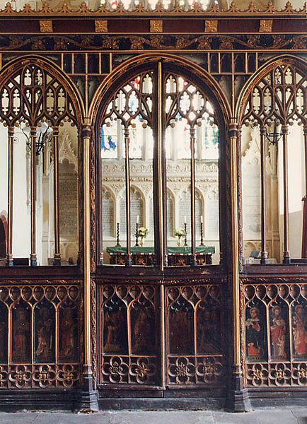 Rood Screen, Holy Trinity Church, Torbryan (Devon)  Photo by John Salmon (Creative Commons Attribution-ShareAlike 2.0 license)