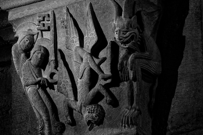 Fall of Simon Magus, Cathédrale Saint Lazare, Autun (Côte-d'Or)  Photograph by Dennis Aubrey