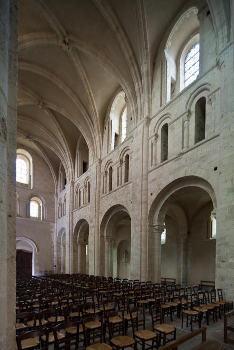 Nave elevation, Abbaye Sainte Trinité, Lessay  (Manche)  Photo by Dennis Aubrey