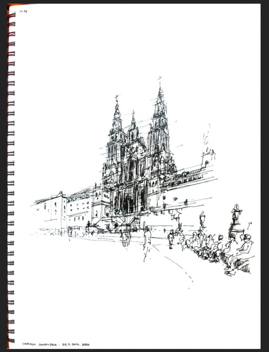 Santiago de Compostela, Drawing by Hugo Costa (used with permission)
