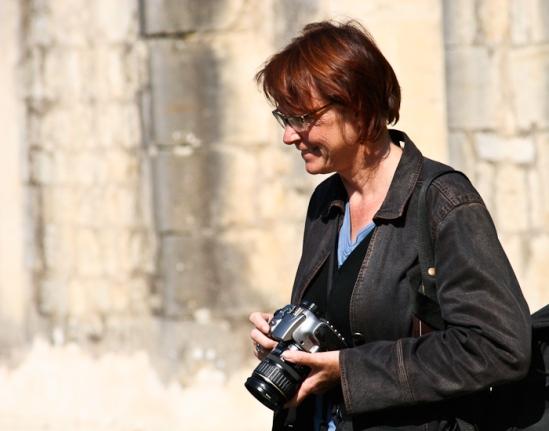 PJ at the Église Abbatiale de Noirlac, Bruere-Allychamps (Cher) Photo by Dennis Aubrey