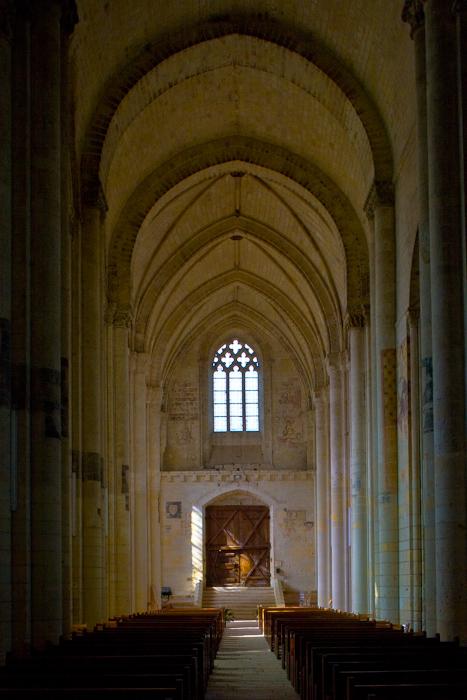 Nave, looking west, Église Notre-Dame de Cunault, Cunault (Maine-et-Loire) Photo by Dennis Aubrey