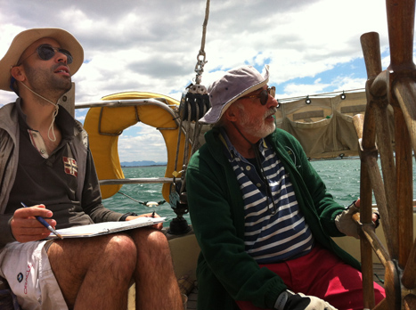 """Hugo Costa and Vicente, the owner and captain of the """"Formidable"""""""